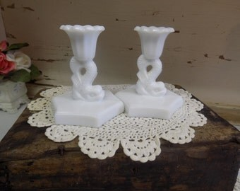 2 Vintage White or Milk Glass Candle Sticks Nautical Westmoreland B1204