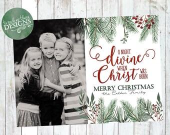 Christmas Overlay, Digital Christmas Card, Photo Christmas Card, Printable Holiday Card, Print Your Own, O Night Divine