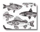 Fish paper napkin for decoupage, mixed media, collage, scrapbooking x 1.  No. 1184 Monochrome Fish