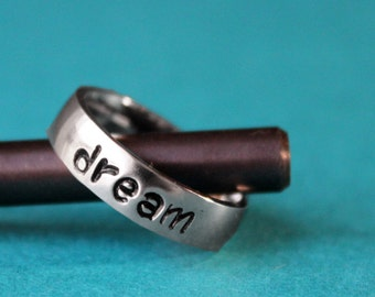 Dream Ring, Inspirational Stacking Ring, Power Word, Dream On, Motivation Jewelry, Dream Big Quote Gift, Stainless Steel Shiny