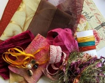 Fiber Art Sample Pack - Art and Crafts - Textile Art Quilt - Pink and gold