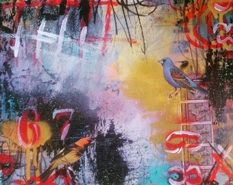 Birds of a Feather- square foot original fine art collage painting canvas mixed media