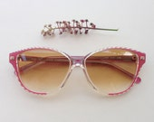 Maggy Rouff sunglasses / Vintage deadstock French pink eyeglasses / cateye Haute Couture sunglasses / women's Eyewear made in France