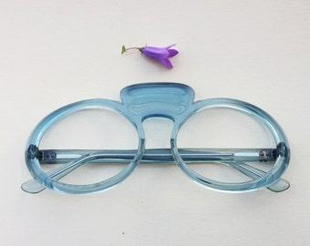 60s rare eyeglasses / baby blue translucent lucite frames / 1960s mod eyewear oval glasses deadstock / groovy goggles / statement sunglasses