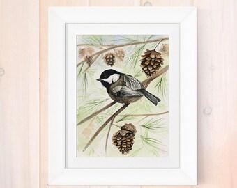 Watercolor print, chickadee painting, watercolor chickadee art print, giclee print, home decor, nature artwork, bird lover art print