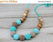 25% off Ocean blue Juniper Nursing necklace / Teething mom necklace, Knotted Nursing necklace, Juniper Teething toy, Babywearing necklace