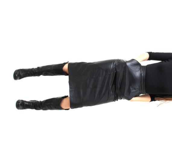 vintage black leather high waisted skirt