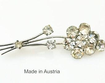 Flower Brooch - Clear Rhinestone - silver metal - Signed Austria-Floral Pin