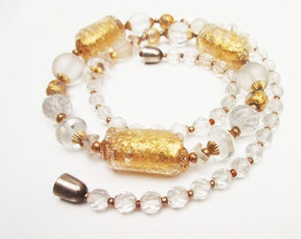 Crystal bead necklace - Gold clear and frosted crystal -  Art glass beads