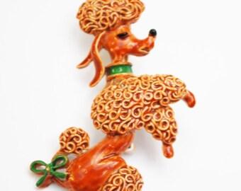 Poodle dog Brooch- brown enamel - signed Gerry -  fiqurine Pin
