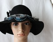 Handmade Ladies Black Wool Felt Dress/Church Hat