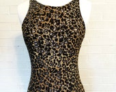 Leopard Print Slinky Form Fitting Burn Out Cocktail Dress - Pencil Dress - Small