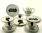 Unique Star Wars Set His Hers 2 Cups Teapot 4 Plates Creamer Love Han Solo Leia Porcelain Vintage Silhouette Redesigned White Brown Romantic