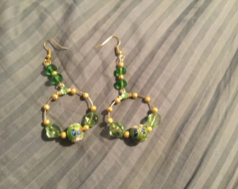 Beautiful green and gold hoops