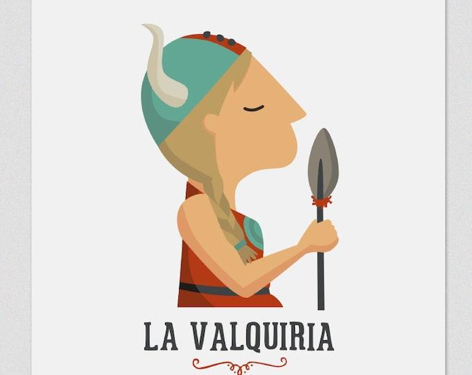 Illustration. La Valkiria. Print. Wall art. Art decor. Hanging wall. Printed art. Decor home. Gift idea. Sweet home. singer
