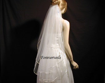 Fingertip Bridal Veils 2 Tier Ivory White Diamond White Champagne wedding veil choice of edge