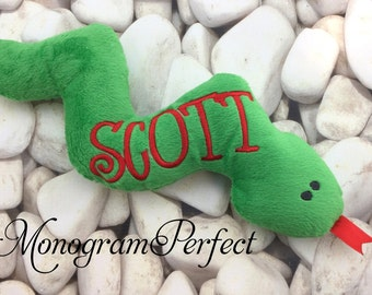 Personalized Green & Red Plush Snake Soft Toy