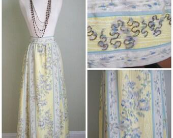 1970's Watercolor Skirt// Beaded// Evening