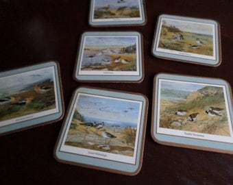 Vintage Pimpernel Engand-Coastal Birds-Sea Shore-Beverage Coasters-Set of Six