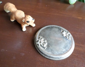 Vintage Silverplate and Mirrored Glass Dresser Mirror/Disc/Powder Jar Lid/Cover-Metal Bows