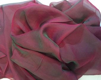 Burgundy Chiffon, Silk Chiffon, Two-toned Chiffon, Burgundy and Green Chiffon, Dress Material, Dress Fabric, Flowy Fabric, BR-209