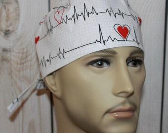 Heartbeats,Men's Surgical Scrub Cap