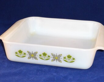 Fire King Anchor Hocking Square Casserole Dish #435, Green Meadow Pattern