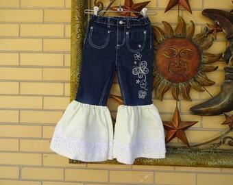Little Girls Upcycled Boho Bell bottom Jeans size 5