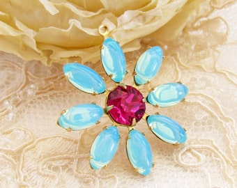 Daisy Flower Blue Opal and Fuchsia Pink Rhinestone Vintage Glass Stone Floral Pendant 30mm Brass or Silver Ox Drop - 1