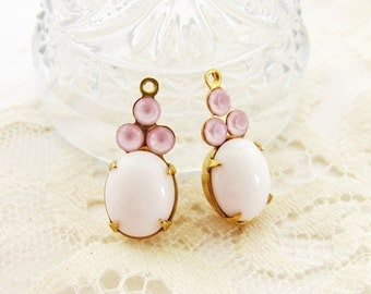 Vintage Opaque White and Pink Rose Opal Glass Stone Drops Charms Brass Set Stones - 2