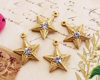 Vintage Brass Star Charms with Crystal Rhinestone Centers 14mm - 4