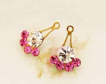 Swarovski Rhinestone Rose Pink and Crystal Brass Fan Drops Dangles Charms - 2