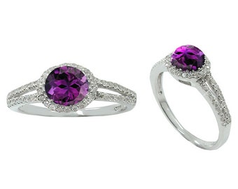 Amethyst Ring. Sterling Silver Ring with Round Amethyst and Round White Topaz Stones. Available in US Ring Sizes 5 - 12.