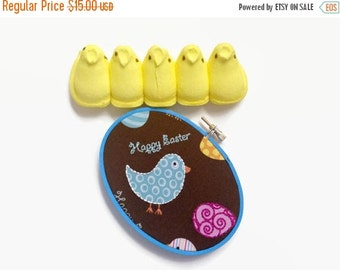 CLOSING SALE - Easter Embroidery Hoop - Happy Easter! Chicks & Easter Eggs / Hand Embroirdered Cute Holiday Decor - for Kids, Children, East