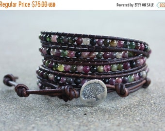 SPRING SALE watermelon tourmaline leather bracelet tree in pink, green and black with sterling silver tree of life button 5 strand wrap arou