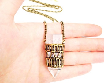 Quartz Crystal Cage Necklace - Geometric Style