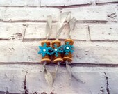 Set of 3 Rustic Wood Spool Ornaments with Blue and Silver decoration, Christmas Tree Ornaments,  Christmas Tree Decorations