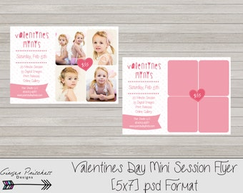 Valentine's Day Mini Session Template, Mini Session Flyer, Valentine's Day Card- Valentine's Day Marketing Board - Instant Download