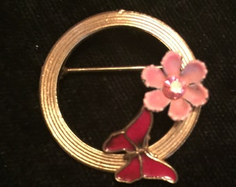 Vintage Pin with Flower and Butterfly