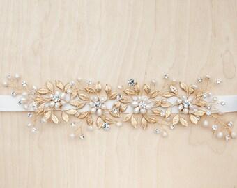 Gold Bridal Belt, Gold Bridal Sash, Gold Leaf Bridal Sash, Crystal Bridal Belt, Gilded Pearls and Crystals Bridal Belt, Crystal Pearl Sash