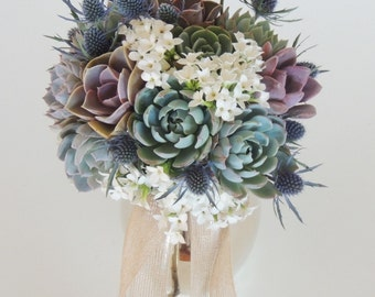 Succulent Bouquet blue, purple