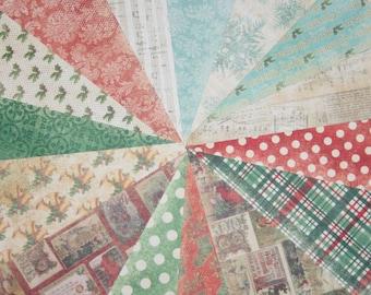 Christmas Scrapbook Paper, Holiday Paper, Old World, Scrapbooking, 6x6 Paper, Destash, Holly, Polka Dots, Plaid, Bells, Damask, Red, Green