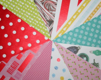 Christmas Scrapbook Paper, Holiday Scrapbook Paper, Foil, Retro Christmas, Holiday, Scrapbooking Paper, 6x6, Destash, Candy Cane, Polka Dots