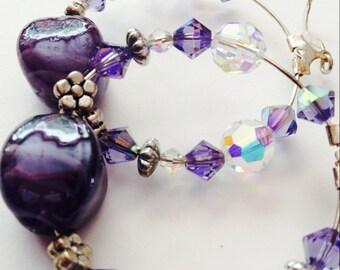 SALE, Swarovski Earrings, Purple Earrings, Summer Earrings, Hoop Earrings, Beaded Hoops, Sparkle Earrings
