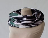 silk ikat scarf, Uzbek ikat silk, loop, eternity or endless scarf, ethnic design in black and white, chevron infinity scarf, bohemian 171