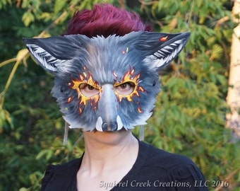 Leather Wolf Mask, Fierce Fire, Scary, Scary Wolf, Mardi Gras, Theater Prop, LARP, Fox mask, Furry, Costume, Leather Mask, Cosplay, LARP