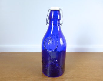 Cobalt blue Milk Lait bottle with toggle stopper made in Italy