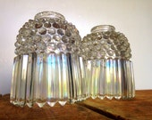 Antique Glass Lamp Shades, Pair of Clear Carnival Glass Shades By Jefferson Glass, Clear Iridized Glass Shades, Marked Jefferson Glass