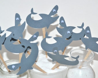 12  Shark Cupcake Toppers /Shark birthday Party / Shark Party Invitation/Shark Party Decor/Shark Cake Topper/Shark Week/ Shark Party Favors