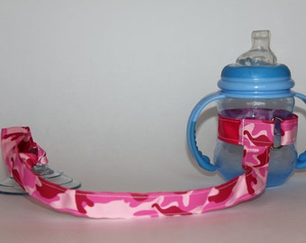 Sippy Cup Leash, Sippy Cup Strap, Baby Bottle Holder, Toddler Gift, Christmas Gift, Birthday Gift - Pink Camouflage